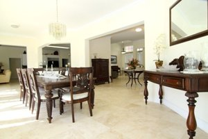 Dining Room with Travertine Floorl
